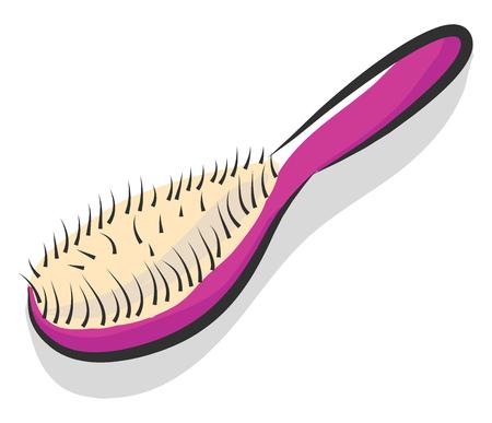 Semplice illustrazione vettoriale di una spazzola per capelli rosa su sfondo bianco
