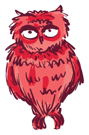 An owl which is colored in dark red vector color drawing or illustration
