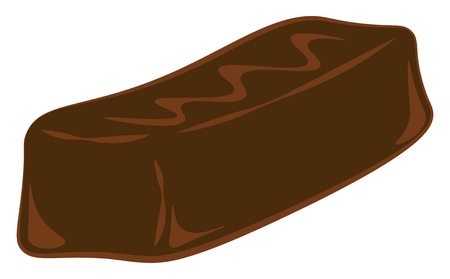 A long rectangular chocolate bar vector color drawing or illustration