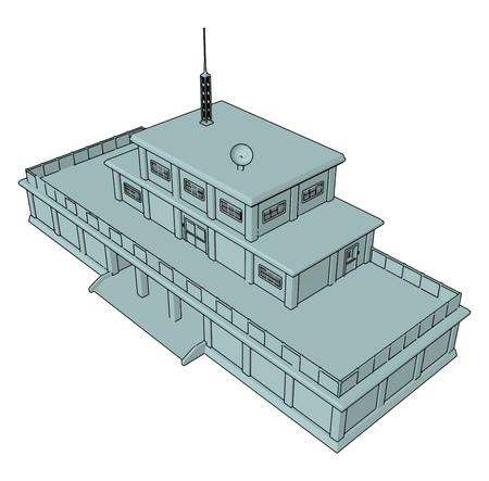 3D vector illustration on white background  of a military barracks Illusztráció