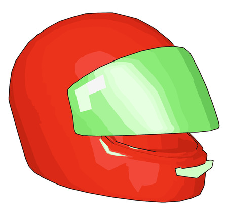 Red and green motorcycle helmet vector illustration on white background