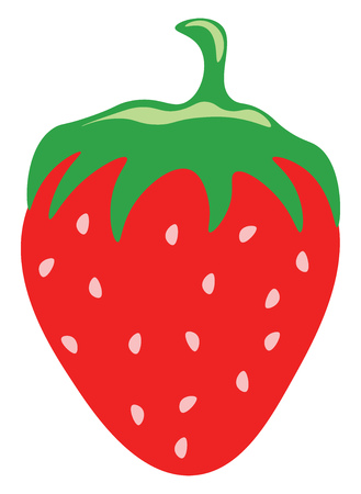 A drawing of a strawberry with green top vector color drawing or illustration