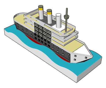 Simple vector illustration of a sea cruiser white background