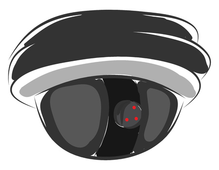 Surveillance camera for security tracking illustration color vector on white background
