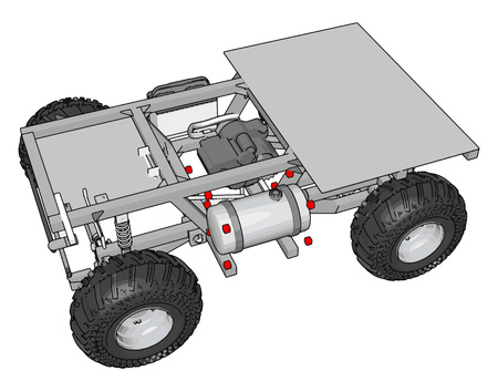 Simple grey construction transportation vehicle with platform vector illustration on white background