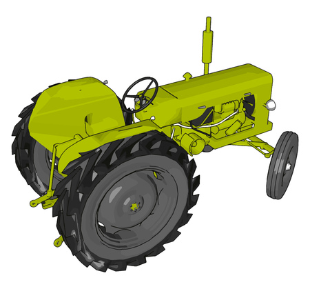 Green tractor vector illustration on white background