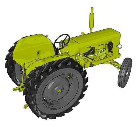 Illustration vectorielle de tracteur vert sur fond blanc Vecteurs