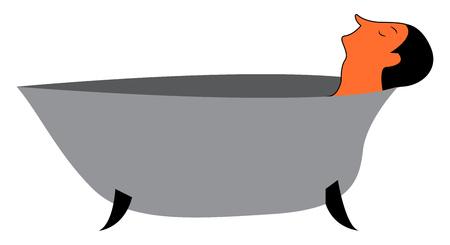 A man in bathtub vector or color illustration