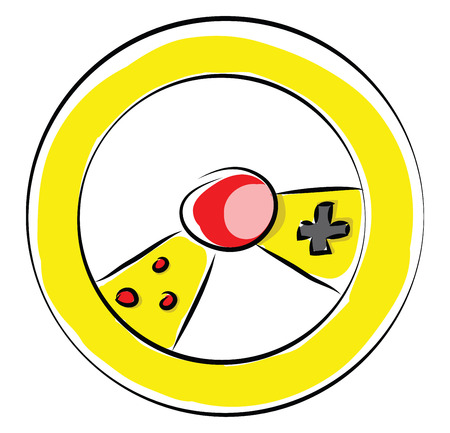 Yellow gaming wheel with controls illustration color vector on white background