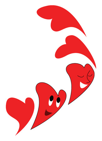 Smiling red hearts flying vector illustration on white background