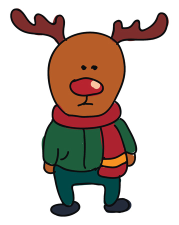 A deer wearing green trousers and a red scarf around his neck vector color drawing or illustration