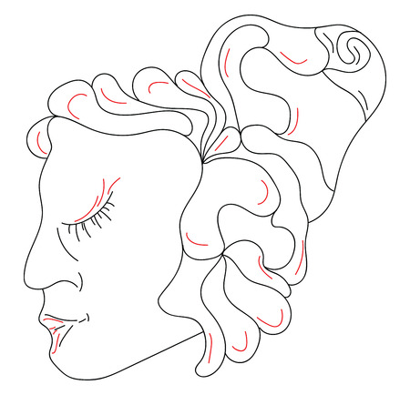 A line drawing of a girl with eyes closed and hair tied up vector color drawing or illustration