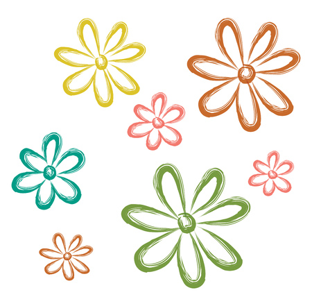 A drawing of Aster flowers of different colours namely yellow green and red vector color drawing or illustration