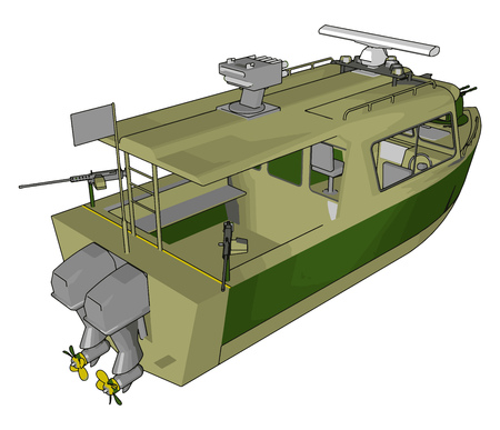 3D vector illustration on white background of a green military boat Foto de archivo - 123462187