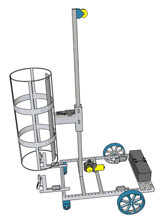 Simple basket lift construction vehicle vector illustration on white background Ilustrace