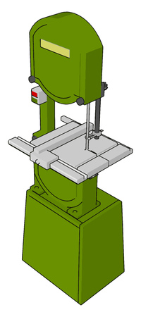 3D vector illustration on white background of a green metal cutting saw