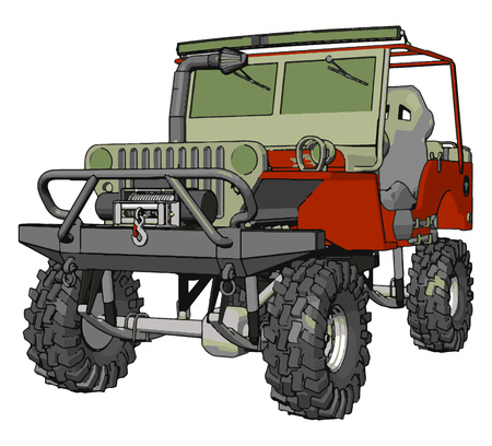Dark green and red sand buggy with grey tiers vector illustration on white background 写真素材 - 123462209