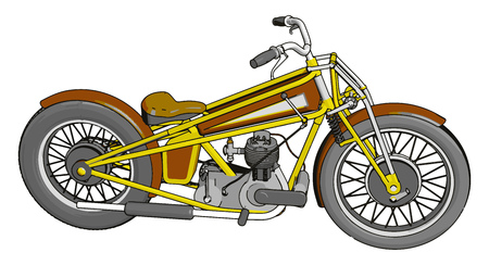Brown and yellow vintage chopper motorcycle vector illustration on white background