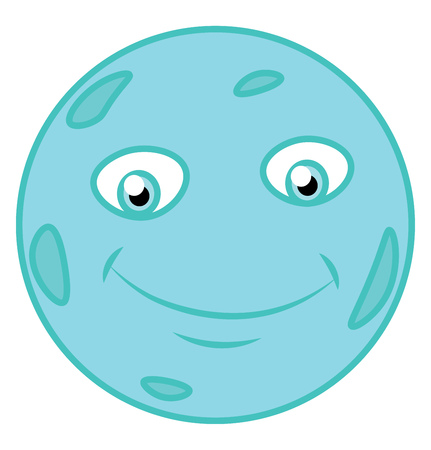 Seventh planet in our solar system is of blue color vector color drawing or illustration