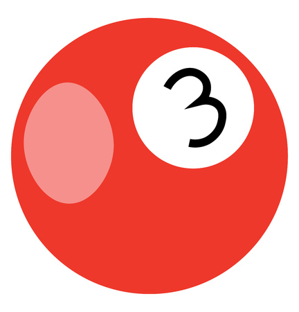 An illustration of an orange colored billiard ball with the number 3 written on it vector color drawing or illustration