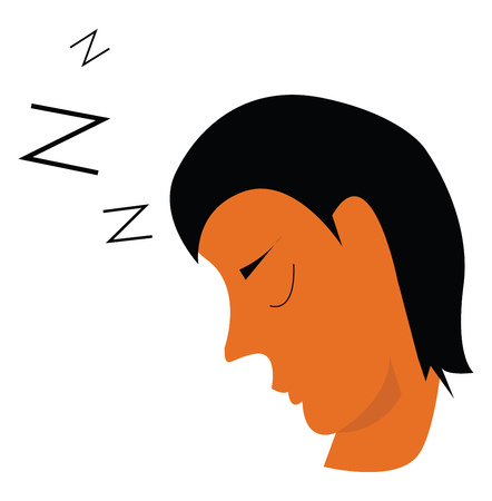 A man with black hair whose eyes are closed implying that he is asleep vector color drawing or illustration