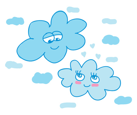 Two clouds looking at each other happily vector color drawing or illustration 向量圖像