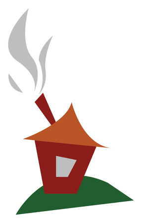 A small house with fumes coming out of chimney vector color drawing or illustration