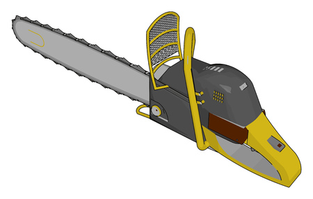 3D vector illustration of a grey and yellow chain saw white background Illustration