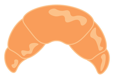 A crescent shaped bread vector color drawing or illustration Illustration