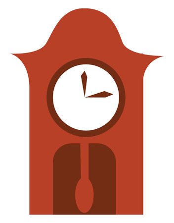 A brown wall clock with a pendulum vector color drawing or illustration