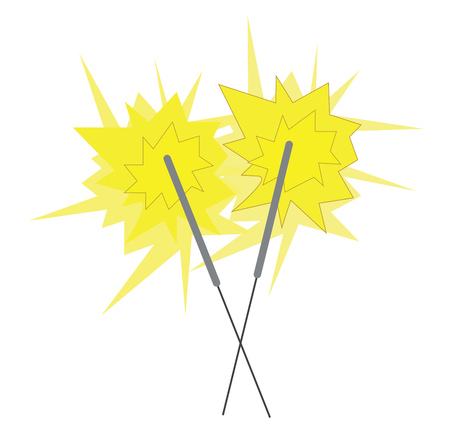 A pair of firecrackers ignited leading to sparkles vector color drawing or illustration
