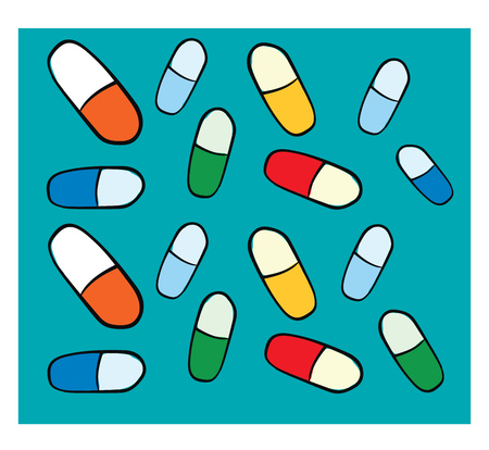 Texture of colorfull pills on blue background and white frame vector illustration