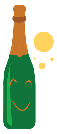 A cartoon of a bottle of champagne smilling and bubbles around it vector color drawing or illustration