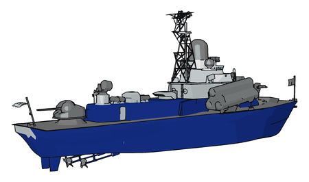 3D vector illustration on white background of a blue and grey military boat