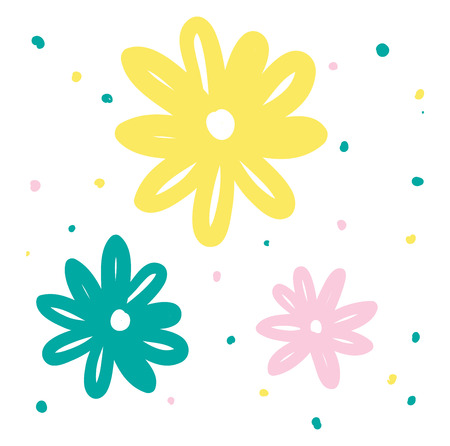 A doodle of green yellow and pink daisy flowers having oval shaped petals vector color drawing or illustration