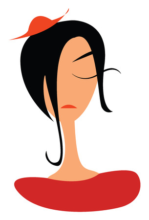 A woman with long black hair wearing orange colored small beret vector color drawing or illustration 일러스트