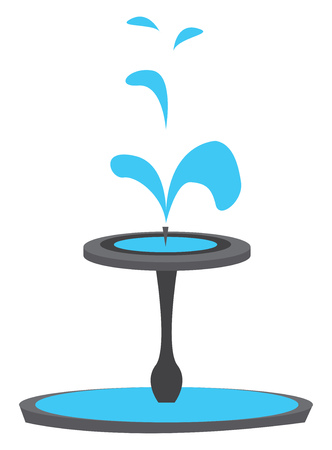 Simple vector illustration of a blue fountain on white background