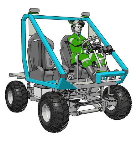 3D-Vektorillustration auf weißem Hintergrund eines blauen Industrietransportfahrzeugs
