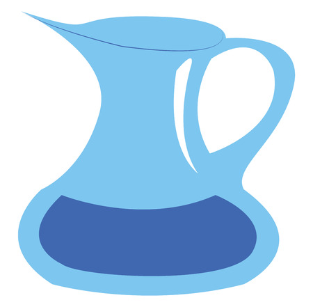 A blue jug with a handle containing some liquid vector color drawing or illustration