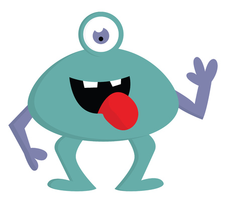 Happy blue one-eyed monster with violet arms and open mouth vector illustration on white background