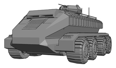 3D vector illustration on white background of a gray armoured military vehicle Illustration