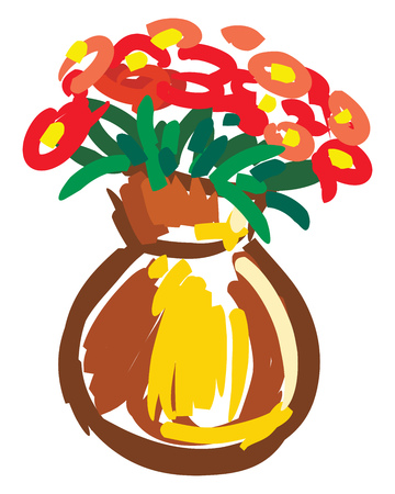 A brown flower vase contain several red flowers vector color drawing or illustration