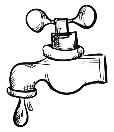 Water tap hand sketch illustration color vector on white background Vector Illustration