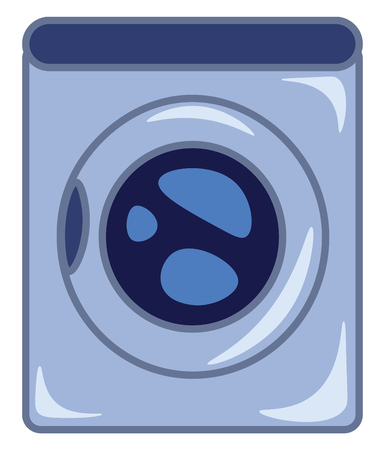 An image of a front load washing machine vector color drawing or illustration Ilustrace
