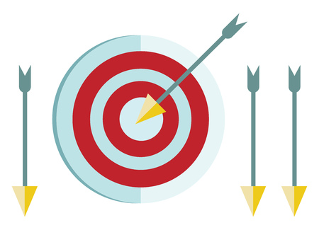 A dart board and arrows used for hitting the target sports vector color drawing or illustration Иллюстрация