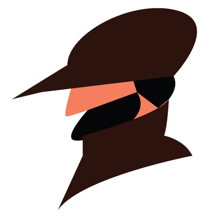 An image of a man with thick broad mustacho wearing a brown hat and a trench coat vector color drawing or illustration