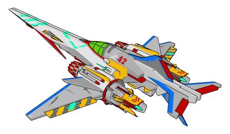 Sci-fi battle cruiser vector illustration on white background Ilustração