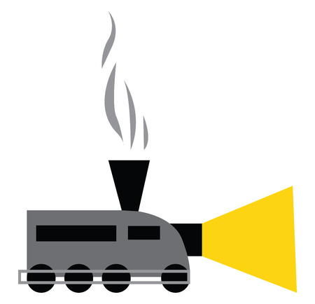 A chimney train with its headlights on vector color drawing or illustration