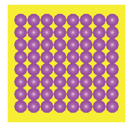 Several purple decagon arranged in a sequential manner on a yellow box vector color drawing or illustration