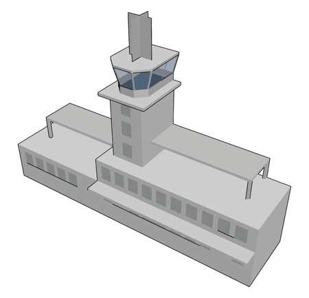 Simple vector illustration of a grey airport tower white background